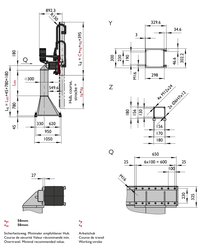ZP-5, 2-Axis Linear Modules, dimension | © Güdel Group AG